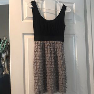 Soprano Black and Grey Ruffle Dress Size S